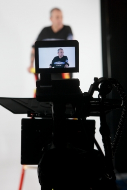 behind the scenes image video monitor on Phil Taylor Shoot
