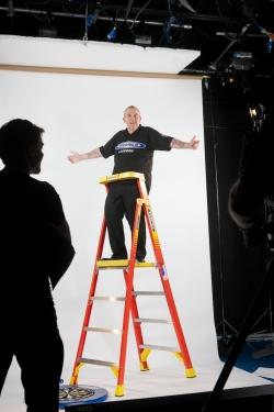 phil taylor on Werner ladder shoot on ladder by ross vincent