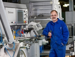 machine operator with machine -Industrial photography Birmingham