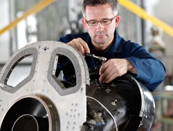 Precision aerospace fitter adjusting job-Industrial photography