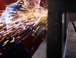 grinding process with sparks-industrial photographer ross vincent