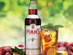 Pimm's bottle and drink