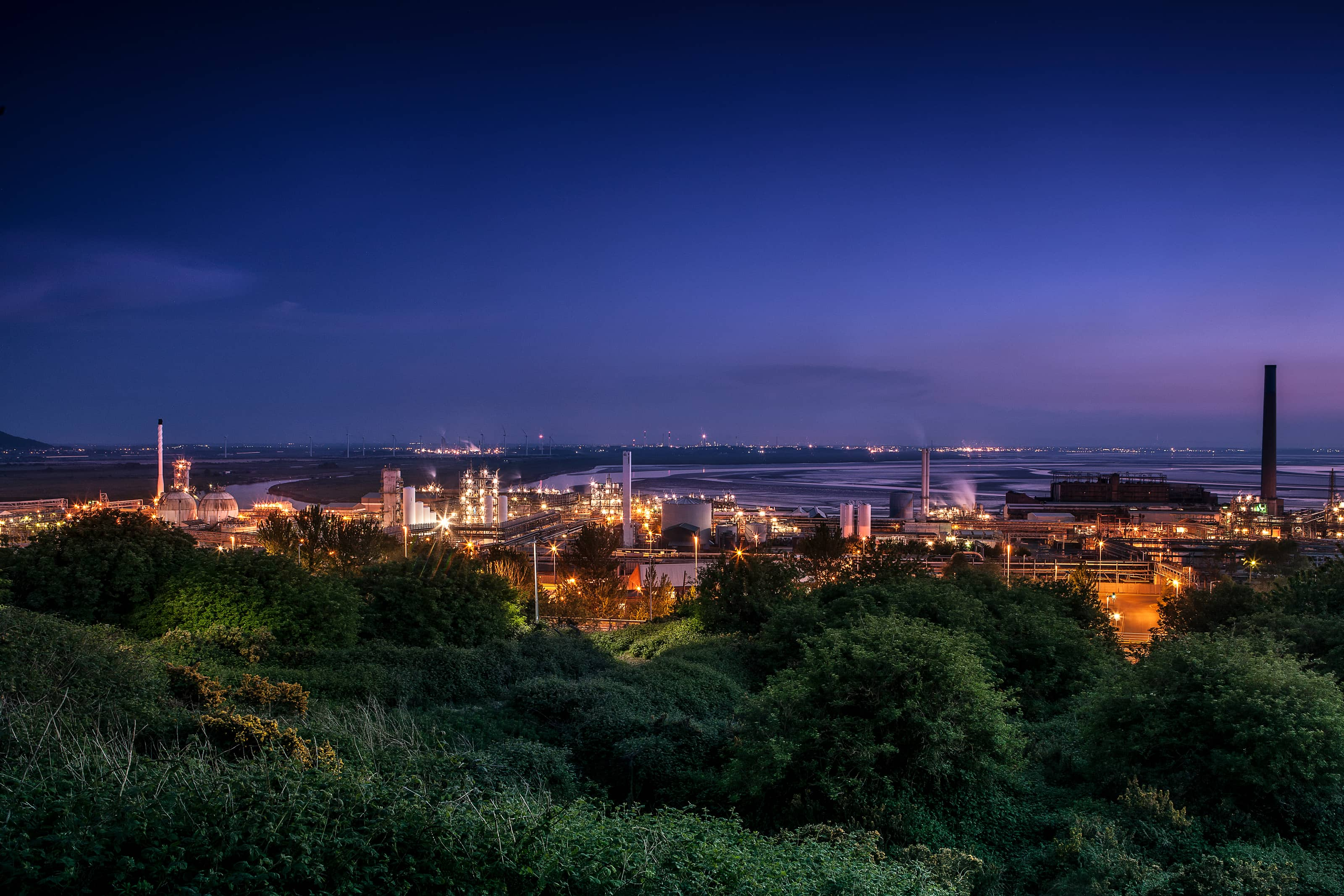 oil refinery Industrial photography looking over Runcorn Hill