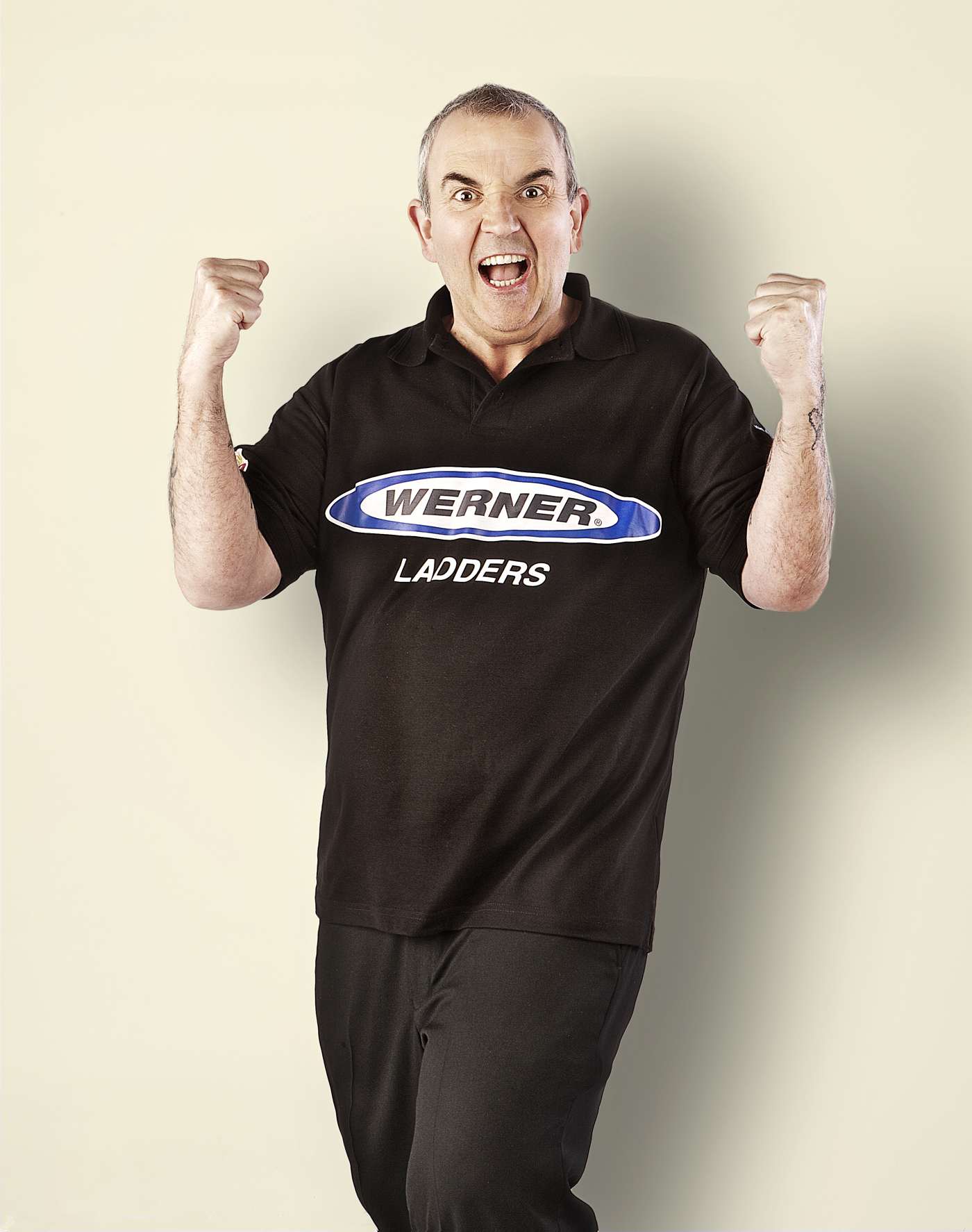 Studio photograph of Phil Taylor darts player by Ross Vincent
