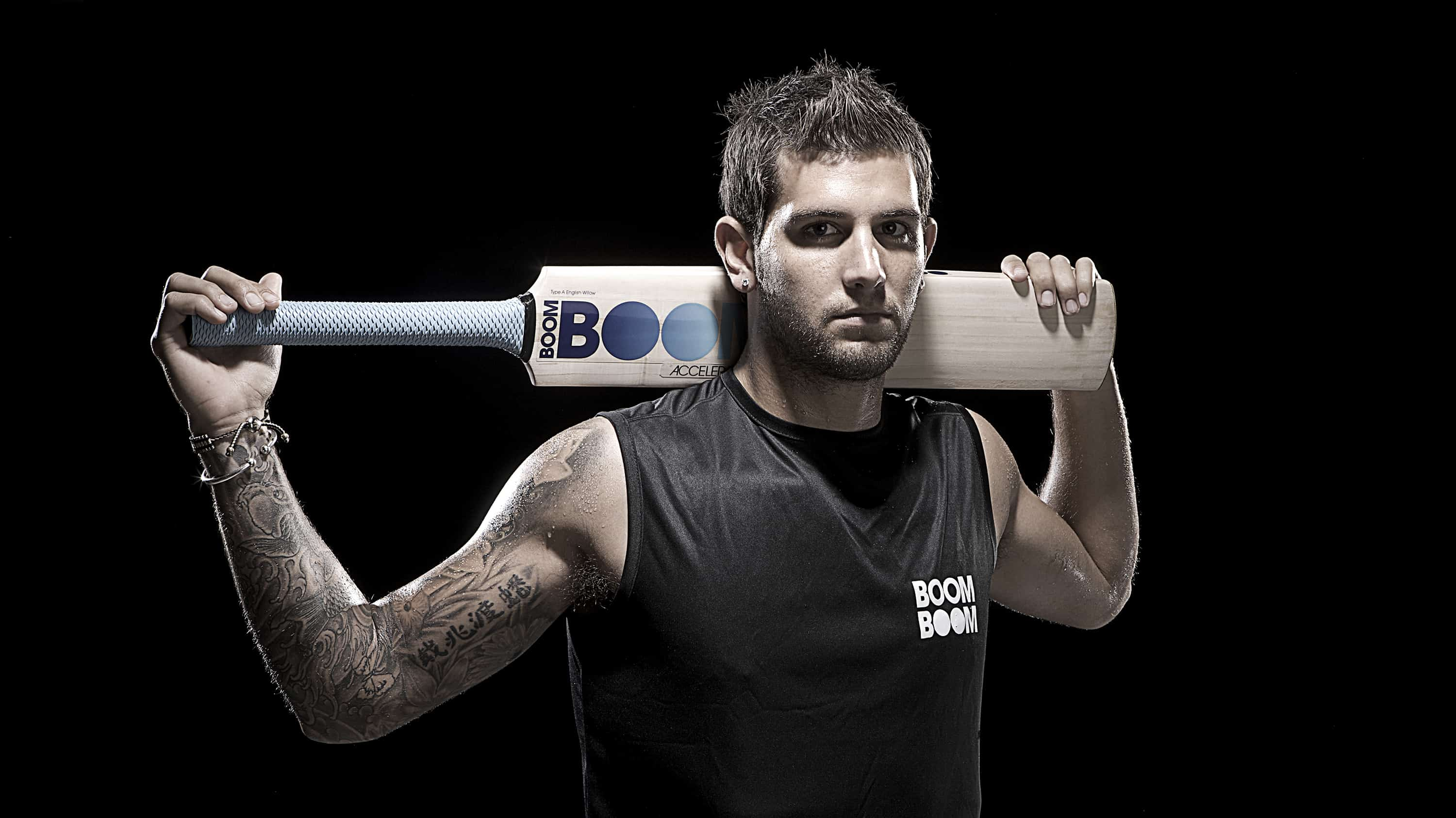 dramatic portrait of England cricketer Jade Dernbach by Ross Vincent