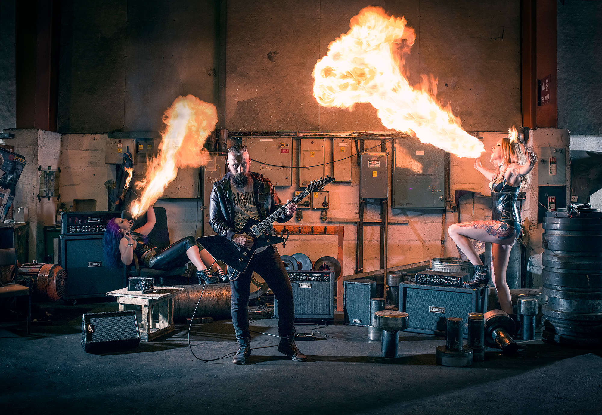 Industrial location photography for laney music of Fire eater and performers