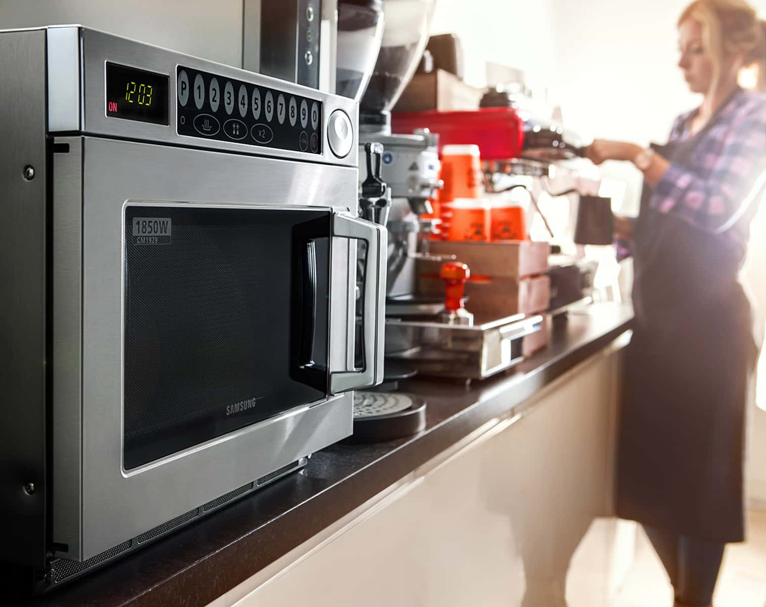 Samsung commercial microwave in kitchen environment