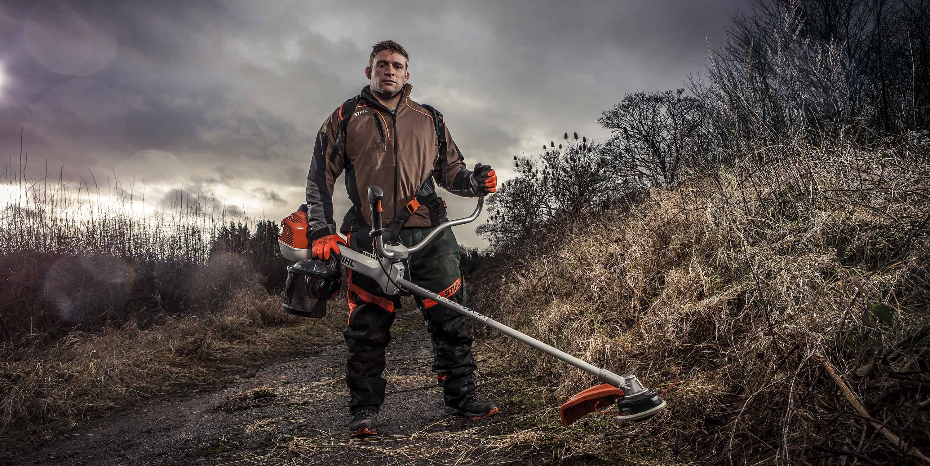 image of Tom Youngs with Stihl Brushcutter location photography by ross vincent